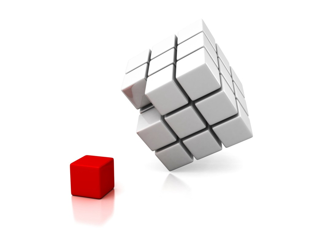 Different red cube out from white group